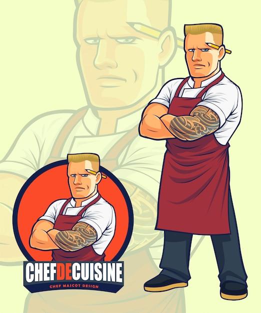 Conception De Mascotte Chef Effrayant Pour Illustration Ou Création De Logo Vecteur Premium