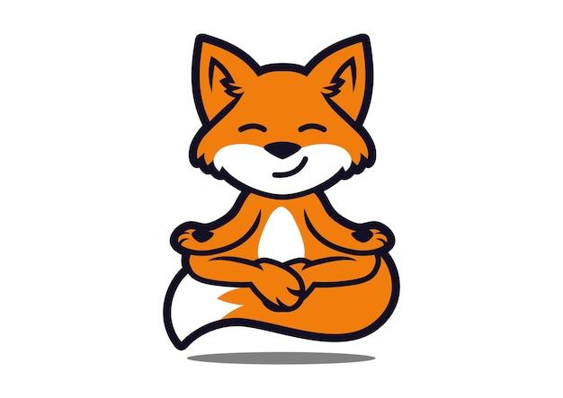 Conception de mascotte de fox yoga Vecteur Premium
