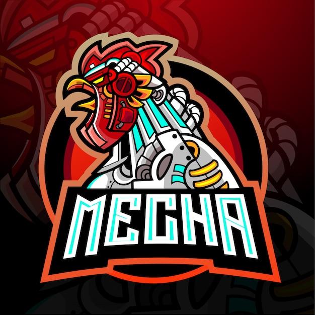 Conception De Mascotte De Logo D'esport De Coq De Mecha Vecteur Premium