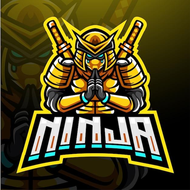 Conception De Mascotte Logo Esport Ninja Vecteur Premium