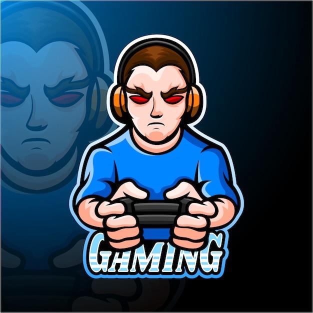 Conception De Mascotte De Logo Gamer Boy Esport Vecteur Premium