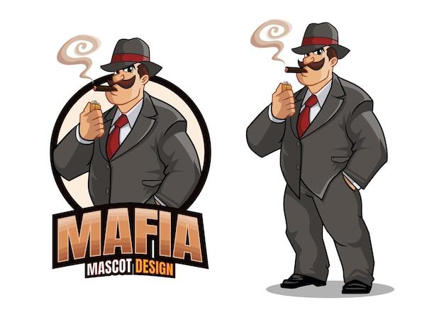 Conception De Mascotte De Mafia Vecteur Premium