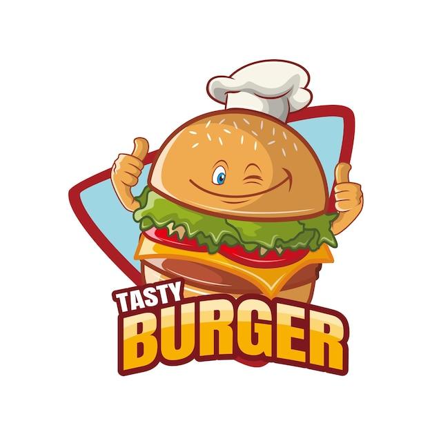Conception De Mascotte De Personnage De Dessin Animé Savoureux Burger Vecteur Premium