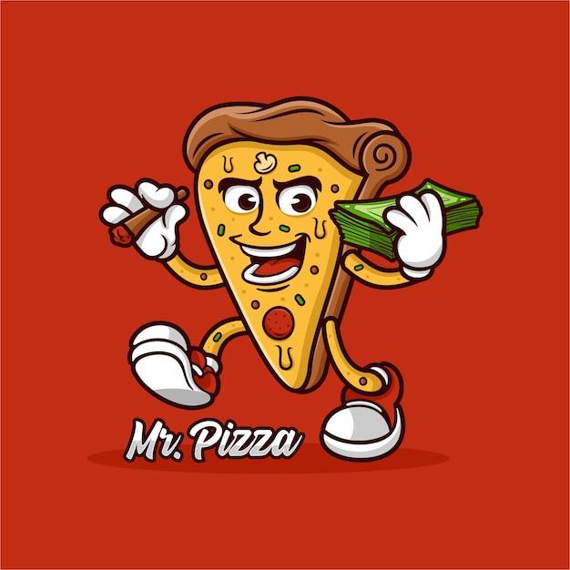 Conception De Mascotte De Pizza Vecteur Premium
