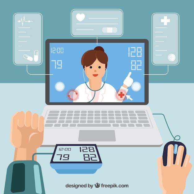 Conception de médecin en ligne avec les mains en utilisant un ordinateur portable Vecteur gratuit