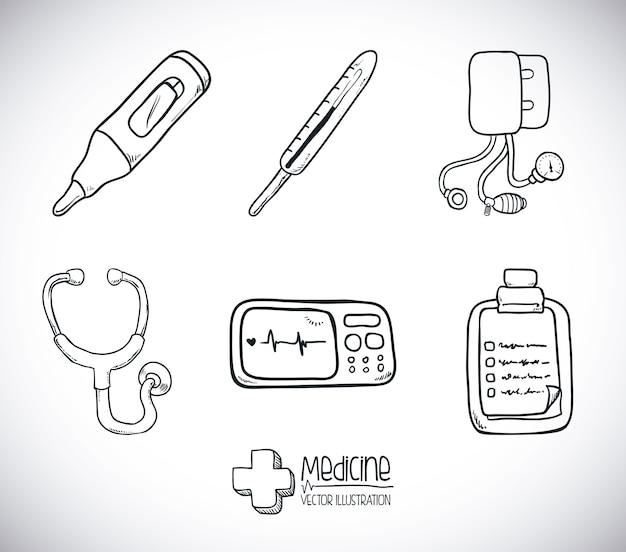 Conception de la médecine au cours de l'illustration vectorielle fond gris Vecteur Premium