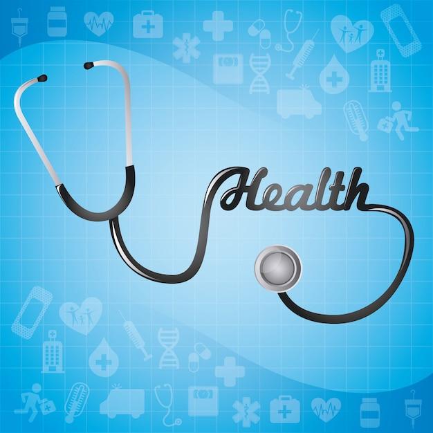 Conception médicale sur fond bleu Vecteur Premium
