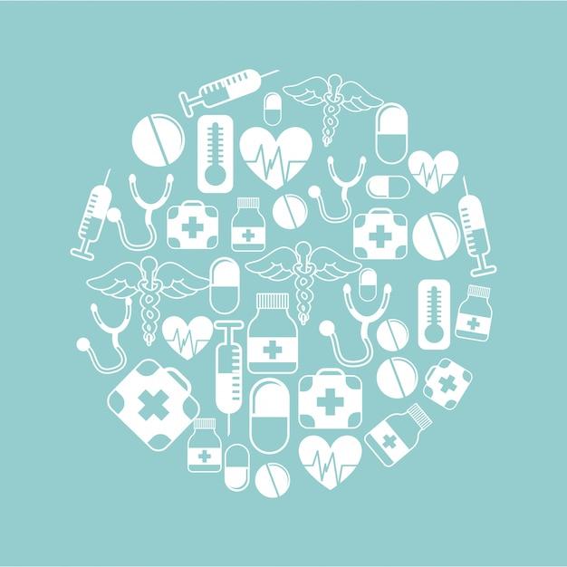 Conception médicale sur illustration vectorielle fond bleu Vecteur Premium