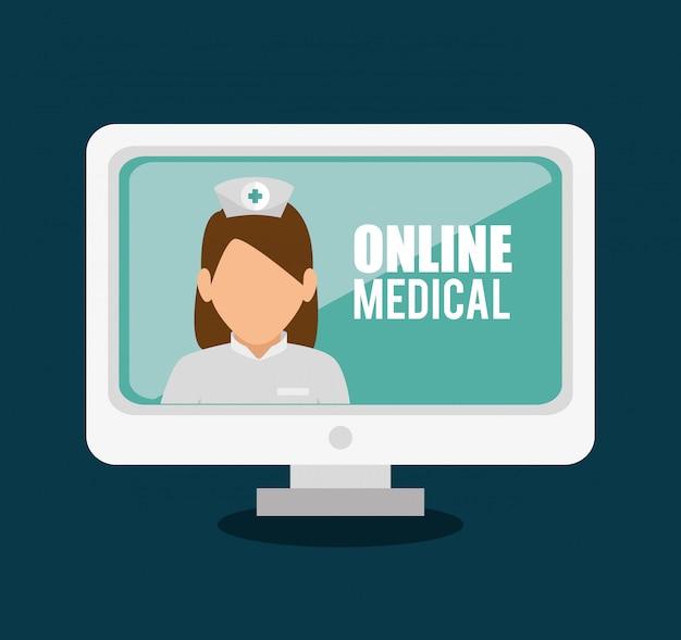 Conception médicale en ligne Vecteur gratuit
