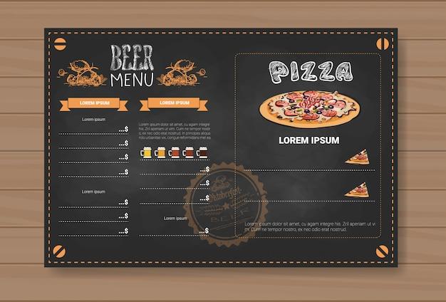 Conception de menu de bière et pizza pour restaurant café pub chalked Vecteur Premium