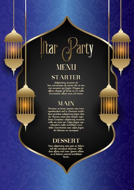 Conception de menu de fête iftar Vecteur gratuit