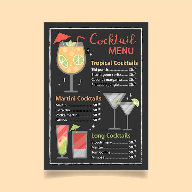 Conception De Menus De Cocktails Vecteur gratuit