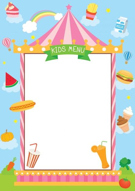 Conception de menus pour enfants avec cadre de carnaval. Vecteur Premium