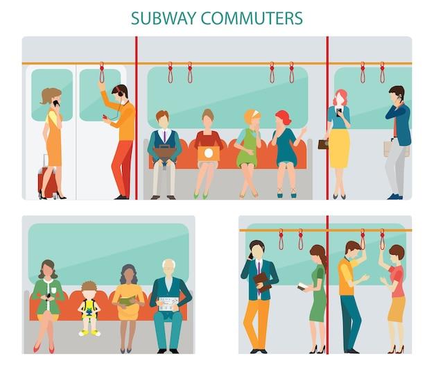 Conception de métro de banlieusards Vecteur Premium