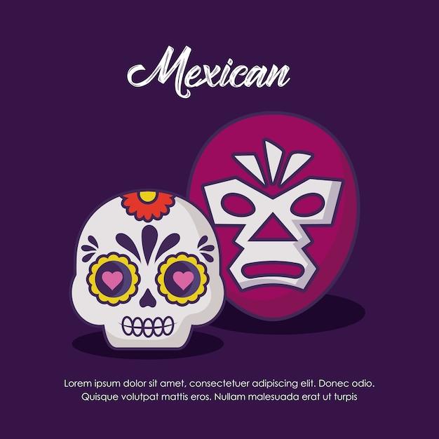 Conception mexicaine avec masque de lutte et crâne de sucre Vecteur Premium