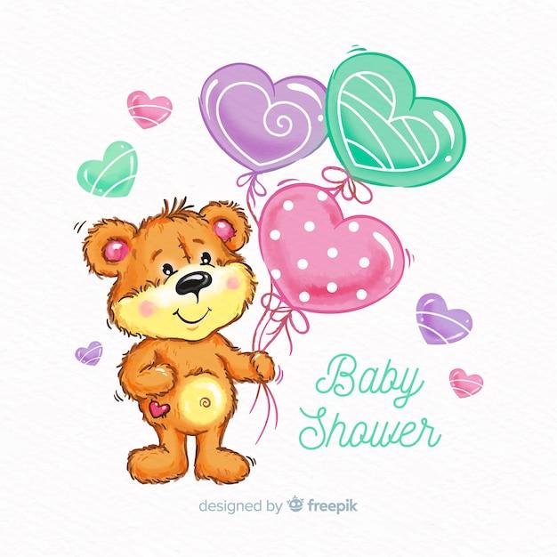 Conception mignonne de baby shower d'aquarelle Vecteur gratuit