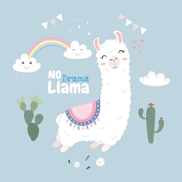 Conception mignonne de lama flottant dans le ciel. Vecteur Premium