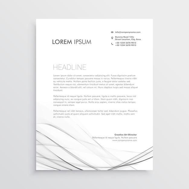conception minimale de papier à en-tête avec la forme ondulée grise Vecteur gratuit