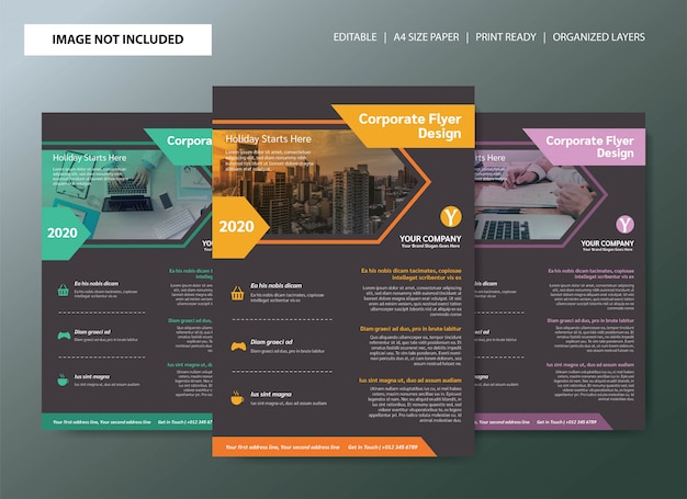 Conception de modèle affiche entreprise flyer Vecteur Premium