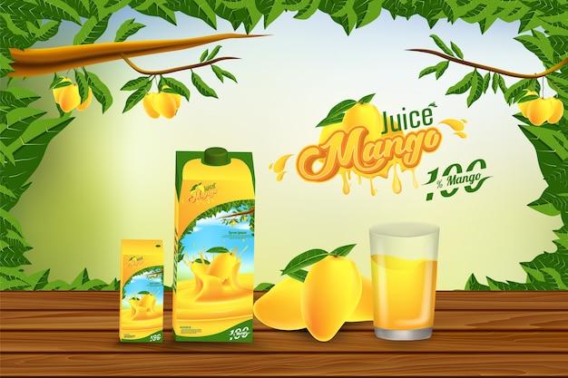 Conception de modèle d'annonce publicitaire de jus de mangue Vecteur Premium