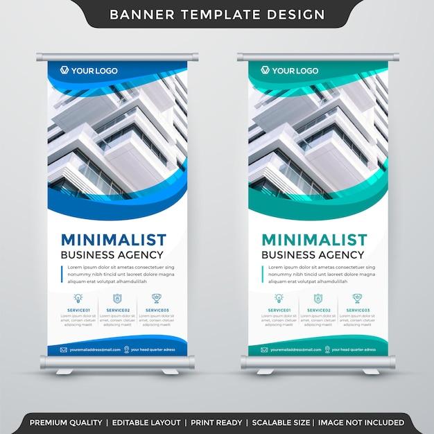 Conception De Modèle De Bannière De Stand Commercial Avec Une Utilisation De Style Minimaliste Pour La Publication De Produits Vecteur Premium