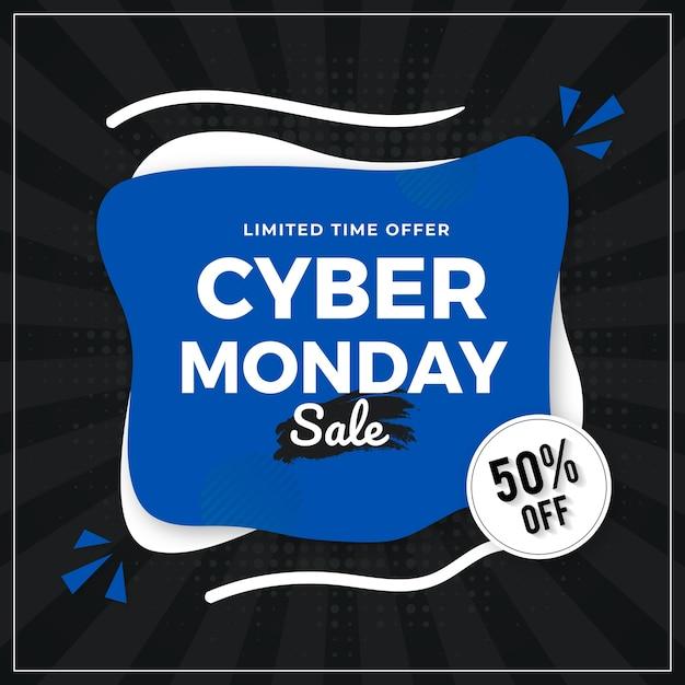 Conception de modèle de bannière de vente cyber lundi Vecteur Premium