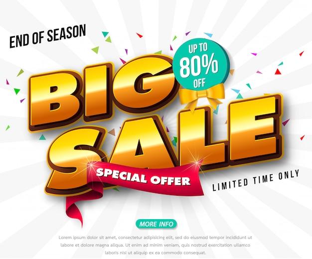 Conception de modèle de bannière de vente, grande vente spéciale jusqu'à 80% de réduction. super vente, bannière d'offre spéciale de fin de saison. Vecteur Premium