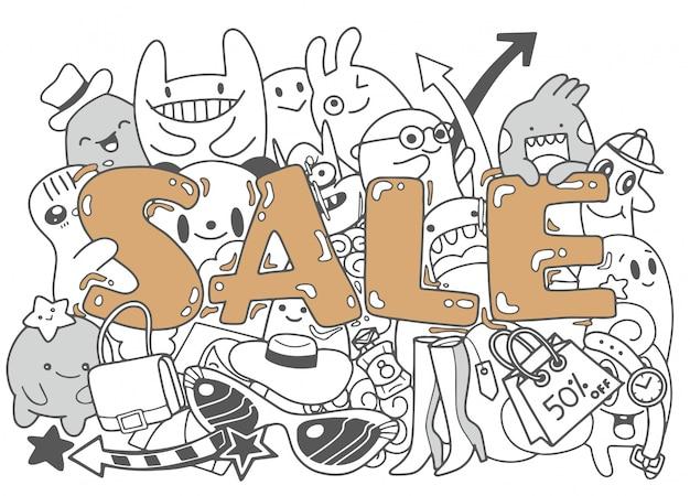 Conception de modèle de bannière de vente, illustration de doodle mignon Vecteur Premium