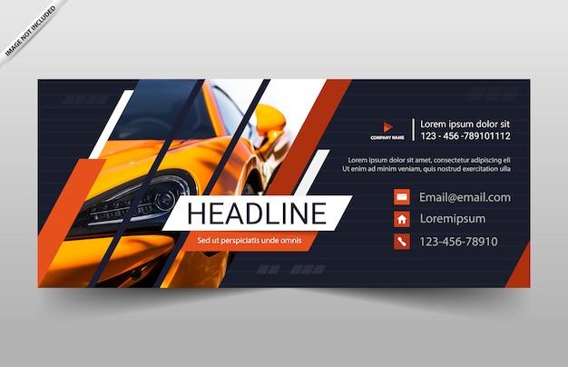 Conception de modèle de bannière de voiture automobile Vecteur Premium