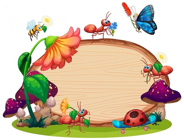 Conception De Modèle De Bordure Avec Des Insectes Dans Le Fond Du Jardin Vecteur gratuit