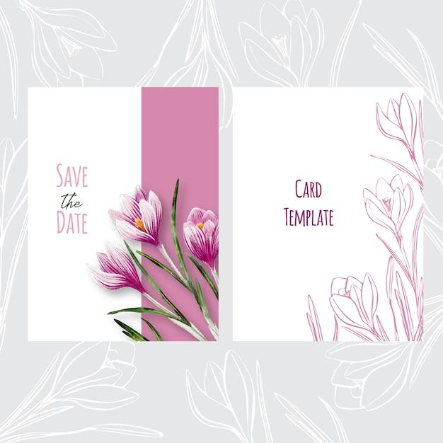 Conception de modèle de carte d'invitation de mariage botanique avec des crocus Vecteur Premium