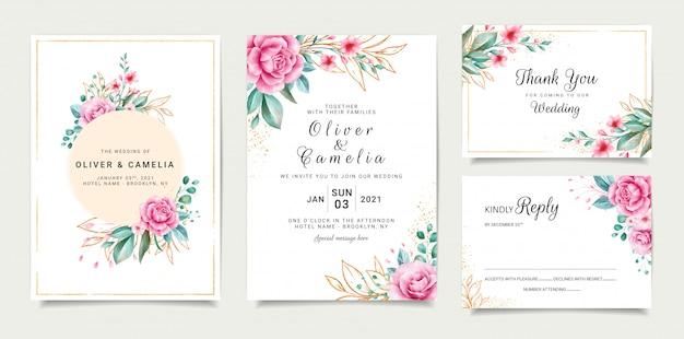 Conception De Modèle De Carte D'invitation De Mariage élégant Avec Des Roses Et Des Feuilles De Paillettes Décrites Vecteur Premium