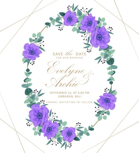 Conception de modèle de carte invitation mariage floral avec des fleurs d'anémone pourpre. Vecteur Premium