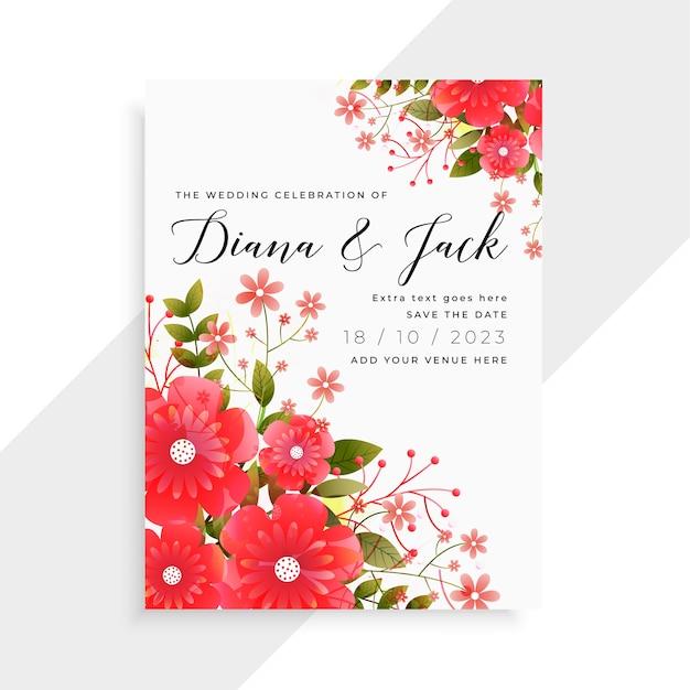 Conception De Modèle De Carte De Mariage Belle Fleur Rouge Vecteur gratuit