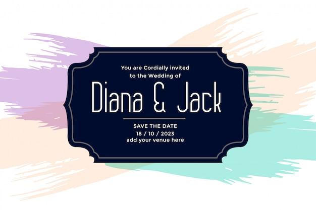 Conception de modèle de carte de mariage avec des coups de pinceau de couleur pastel Vecteur gratuit