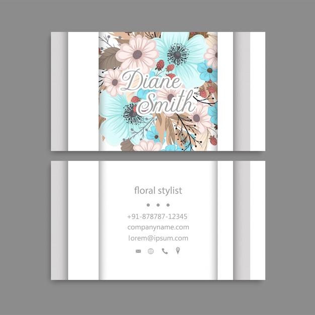 Conception de modèle de carte de visite floral. Vecteur Premium