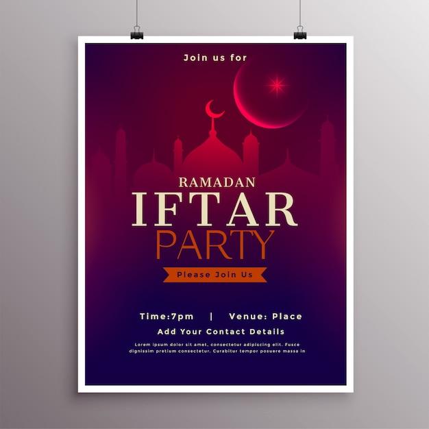 Conception de modèle de célébration de partie de ramadan iftar Vecteur gratuit