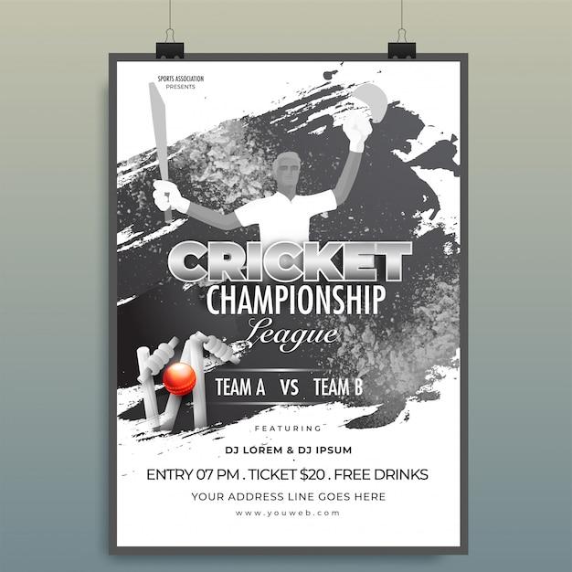 Conception de modèle de championnat de cricket Vecteur Premium