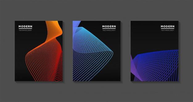 Conception de modèle de couvertures modernes. dégradés de lignes d'art futuriste Vecteur Premium