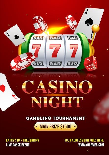 Conception de modèle ou de dépliant casino night party avec fente réaliste Vecteur Premium