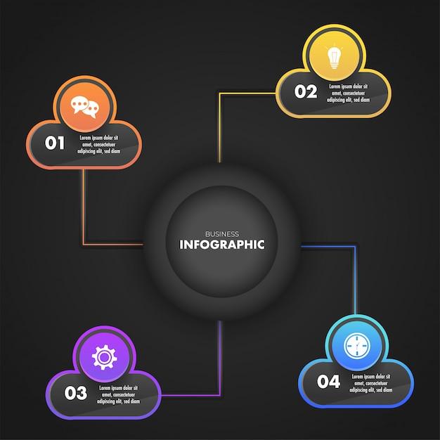 Conception de modèle d'entreprise infographique avec un modèle de quatre étapes différentes Vecteur Premium