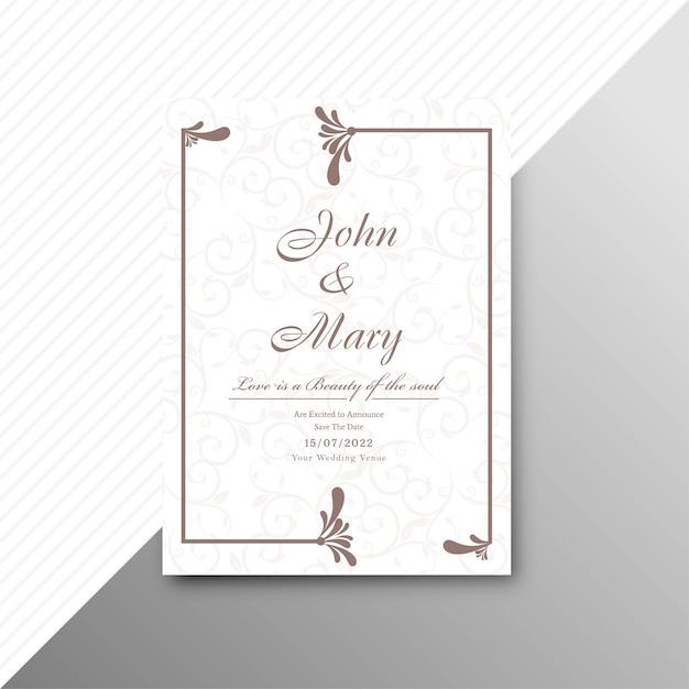 Conception de modèle floral abstrait carte invitation mariage élégant Vecteur gratuit
