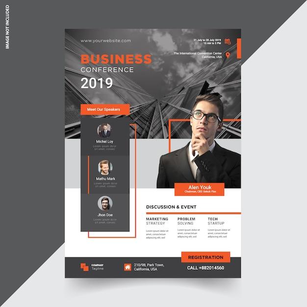 Conception de modèle de flyer de conférence créative Vecteur Premium