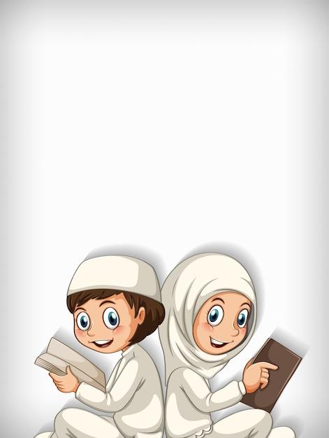 Conception De Modèle De Fond Avec Deux Enfants Musulmans Lisant Un Livre Vecteur gratuit