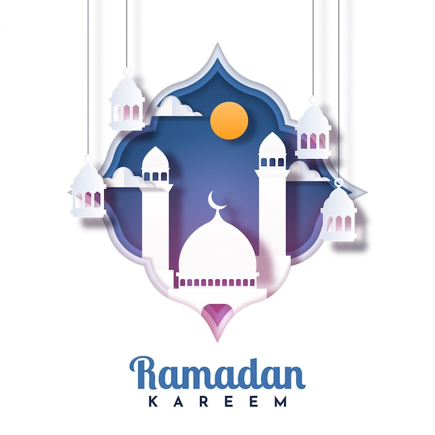 Conception De Modèle D'illustration De Carte De Voeux Ramadan Kareem Vecteur Premium