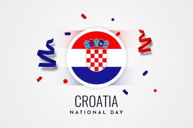 Conception De Modèle D'illustration De La Fête Nationale De La Croatie Vecteur Premium
