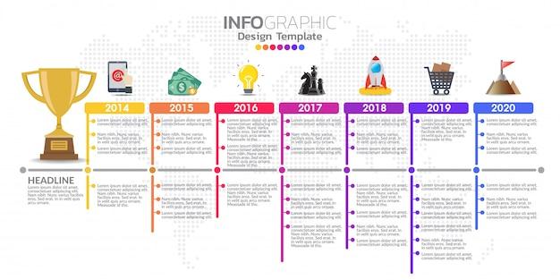 Conception de modèle d'infographie timeline avec des options de couleur. Vecteur Premium