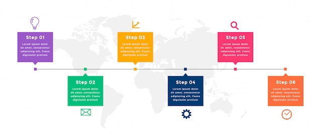 Conception De Modèle Infographique De Chronologie D'entreprise En Six étapes Vecteur gratuit