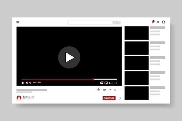 Conception De Modèle De Lecteur Vidéo. Fenêtre De Diffusion En Direct De La Maquette, Lecteur. Concept De Médias Sociaux. Vecteur Premium