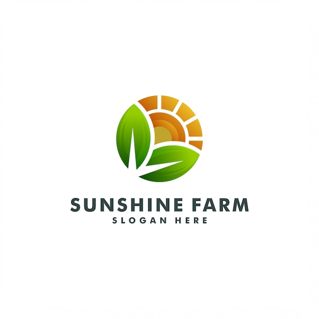 Conception De Modèle De Logo De Ferme. Vecteur Créatif Soleil. Logo Nature Soleil Vecteur Premium